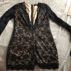 Long sleeve black lace romper
